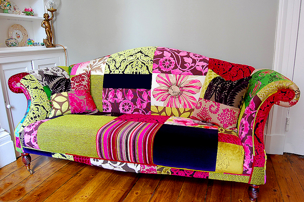 Femme hub decorating on the cheap how to add colour to for Patchwork couch
