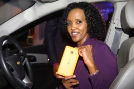Mariam Abdulahi Microsoft Mobile GM displays the Lumia 640 XL launched yesterday at the National Museum of Kenya
