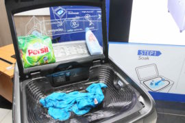 Samsung Activ Dual Wash-Pre Soak Treatment in the built in sink