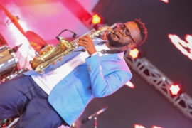 Saxophonist, Samwel 'Laka' Nyaga, from Shamsi Music performs