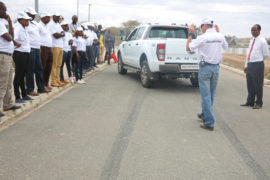 Derek Kirby – Driving Skills For Life (DSFL) center engaging motoring enthusiats during Ford Motors' DSFL training at National Industrial Training Authority in Athi River