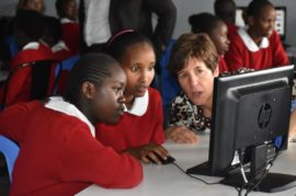 The coding challenge saw some 46 girls in Grades 6 and 7 at the SHOFCO S…