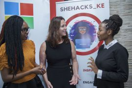 SheHacks Ke Co-Founders Laura Tich (left) and Evelyn Kilel (right), with Microsoft's General Manager, cyber security engineering Hayden Hainsworth during the SheHacks event held at the Strathmore Event