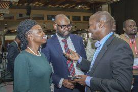 From Left, Microsoft Kenya Country Leader Kendi Nderitu, Kunle Awosika, Director , Small, Medium and Corporate Emerging Markets, Microsoft and HF Group COO David Igweta during the 2nd BFSI Summit
