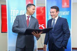 Emirates Cargo Manager East Africa Mr. Saeed Abdulla (l) with Emirates Regional Manager East Africa Manager Hendrik Du Preez