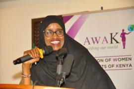 Nominated Senator Haji Farhiya Ali of Wajir County speaking during the 5th Women Leadership and Accountability Conference in Mombasa